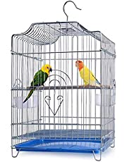 Gluckluz Bird Cage Large Parrot Stainless Steel Birdcage Breeding Pigeon Villa with Food Container and Wooden Stick, Easy to Clean, Suitable for Medium Large Birds