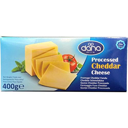Dana Cheddar Schmelzkäse Block 400g Käse zum kochen für Makkaroni, Fondue, Pasta, Burger, Pizza, Auflauf, Soßen, Dips, lange haltbar (1er Pack)