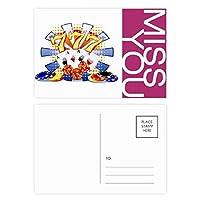 カジノのダイスポーカーチップのイラスト ポストカードセットサンクスカード郵送側20個ミス