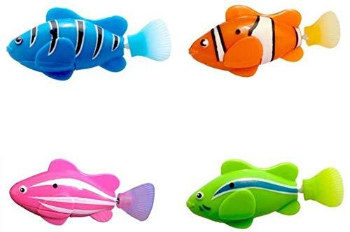 4PCS Batteriebetriebener Elektrischer Schwimmender Fisch, Wasseraktivierter Roboterschwimmen-Haustier-Fisch-Kind-Kind-Badespielzeug-Geschenk