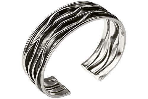 SILBERMOOS Damen Armreif Armspange offen geschwärzt mit Längsstruktur gefaltet massiv 925 Sterling Silber