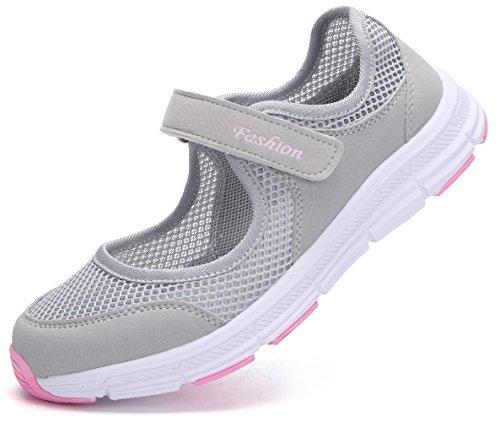 Pastaza Outdoor Fitnessschuhe Damen mit Klettverschluss Leicht Weich Flache Halbschuhe Mesh Atmungsaktive Casual Walking Schuhe,Grau Rosa - 36 EU