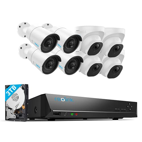 REOLINK 5MP 16CH Home Security Camera System, 8pcs Wired 5MP Outdoor PoE IP Cameras, 4K 16CH NVR with 3TB HDD for 24-7 Recording, RLK16-520B4D4-5MP