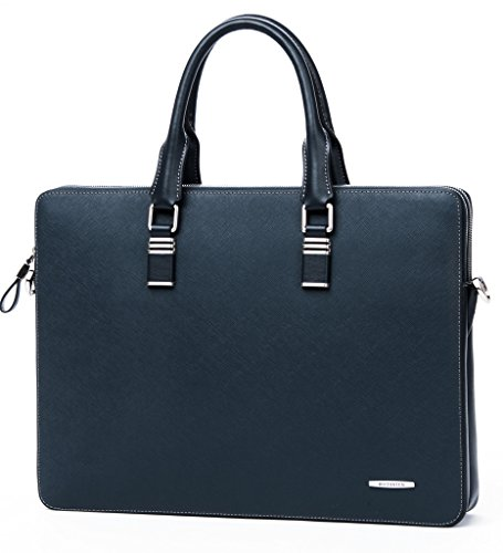 BOSTANTEN Leather Briefcase Slim Shoulder Cross-body Laptop Business Bag for Women & Men