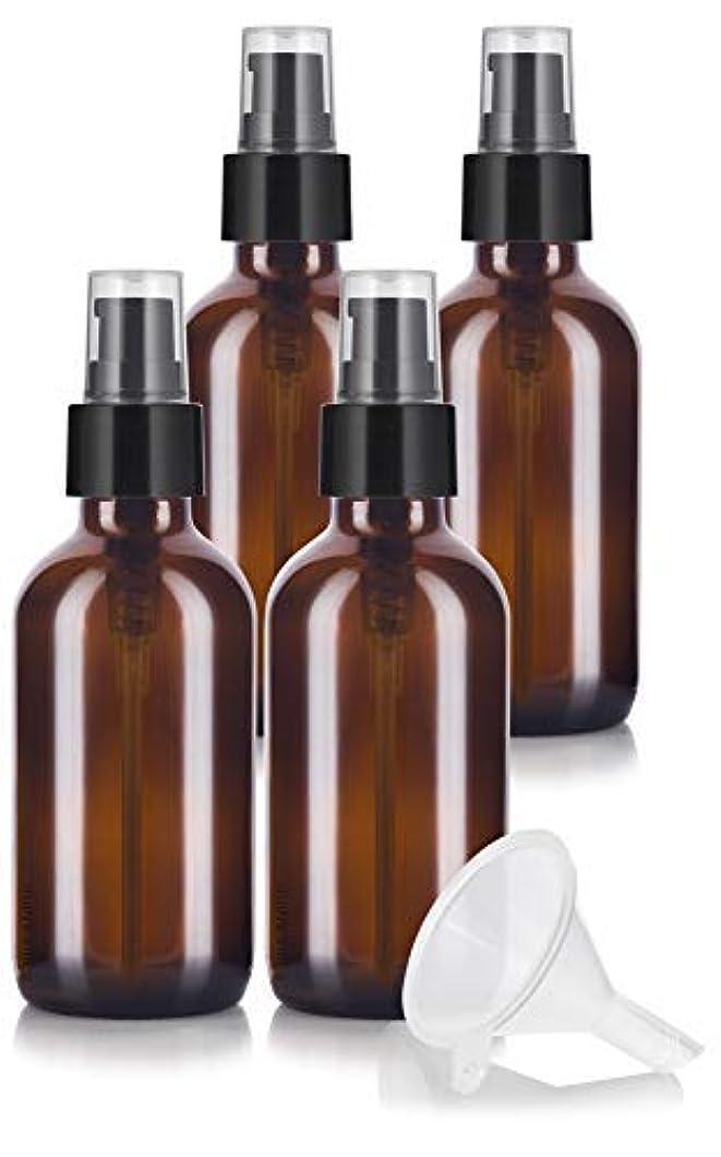 者混雑定義4 oz Amber Glass Boston Round Treatment Pump Bottle (4 pack) + Funnel and Labels for essential oils, aromatherapy,food grade, bpa free [並行輸入品]
