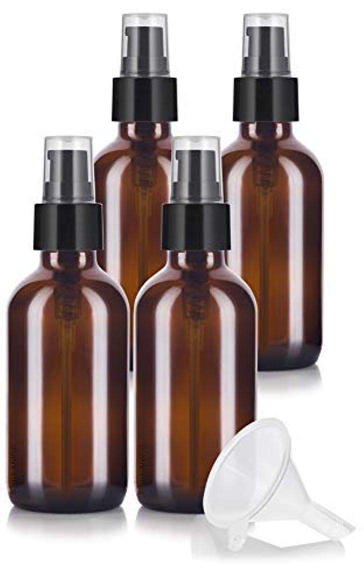 ラオス人導入する年金4 oz Amber Glass Boston Round Treatment Pump Bottle (4 pack) + Funnel and Labels for essential oils, aromatherapy,food grade, bpa free [並行輸入品]