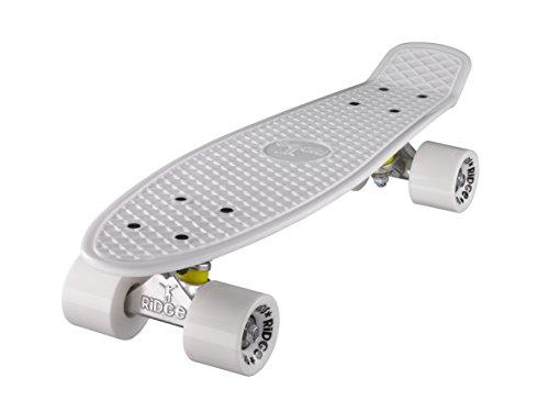 Ridge Skateboard 55 cm Mini Cruiser Retro Stil In M Rollen Komplett U Fertig Montiert Weiss