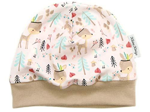 Kleine Könige Mütze Baby Mädchen Beanie · Modell Boho REH, Sand · Ökotex 100 Zertifiziert · Größe 50/56