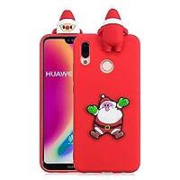 ケース Huawei P20 Lite、薄型 かわいい 3D 漫画 クリスマス 新しい パンダ ケース、シリコン ソフトフレーム tpu カバー、ユニーク 人気 耐衝撃 弾性 軽量 薄型 衝撃吸収 全面保護カバー, 面白いユニークなラッキーギフト、子供、女の子、婦人のための,by Beautycatcher - 赤+サンタクロース