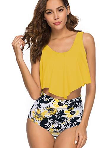 Summer Mae Damen Volant Hohe Taille Bikini Set Bedruckt Badeanzug Gelb XL