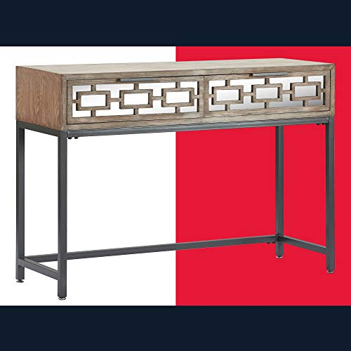 Tommy Hilfiger Hayworth Accent Storage Mirrored Drawers, Contemporary Weathered Console Table, Wood Overlay, Gray