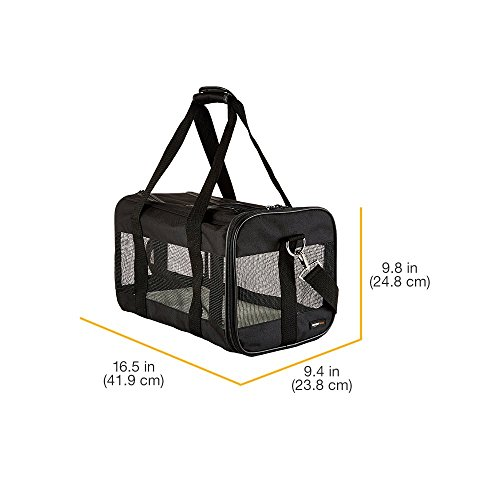 AmazonBasics Soft-Sided Mesh Pet Travel Carrier, Medium (17 x 10 x 10 Inches), Black