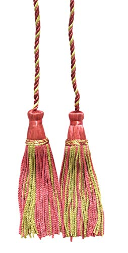 Set of 2 Candy Pink, Light Green Double Tassel / Tassel Tie with 10cm Tassels / Spread 74cm, Style# CDCT Color: Rose Bud - 642