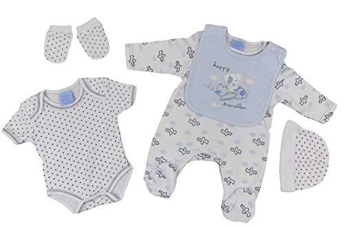 Pijama para bebé, chaleco con peto, guantes, gorro, equipamiento inicial, juego de cinco unidades, para niñas, unisex Happy Welpe - Emisor de viaje 3-6 meses