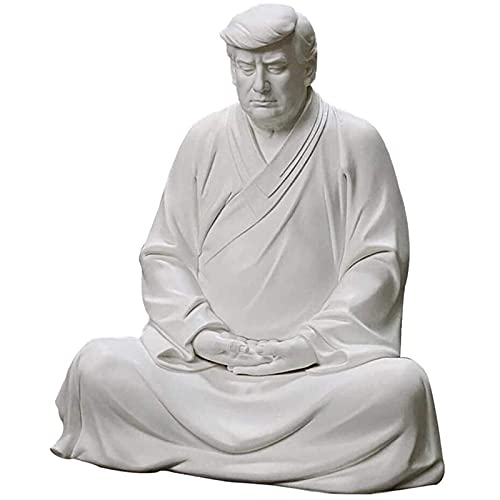 Averary Creative Donald Trump Buddha Resin Decoration Chinese Style Sculpture Home Cabinet Decorative Ornaments Feng Shui Decor (Gray, 6.3 x 5.43 x 3.54 inches)