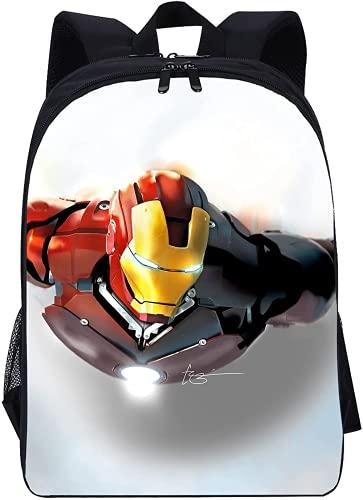 Iron Man - Zaino per la scuola per bambini, modello Supereroe, motivo anime anime, per ragazzi di prima classe (Iron Man-2,13 pollici)