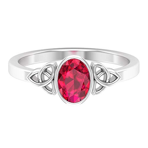 Rosec Jewels 14 quilates oro blanco ovalada Red Ruby