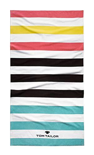 TOM TAILOR 0110371 Strand- und Liegetuch Velours Stripes 1x 85x160 cm aqua