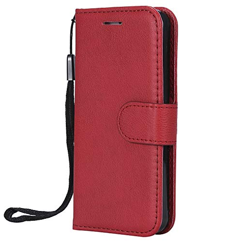 Carols Custodia per Samsung Galaxy S5, Cover per Samsung Galaxy S5 (5,1 Zoll) Custodia Libro Flip, [Portafoglio] Custodia di Pelle Case - Rosso