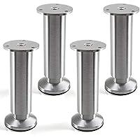 Juego de 4 x SO-TECH® Patas de Mueble ALPHA Alto ajustable Aluminio cepillado Capacidad de Carga hasta 250 kg Alto: 150 mm