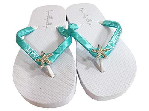 Starfish Flat or Wedge Heel Wedding Flip Flops, Beach Bridal Sandals
