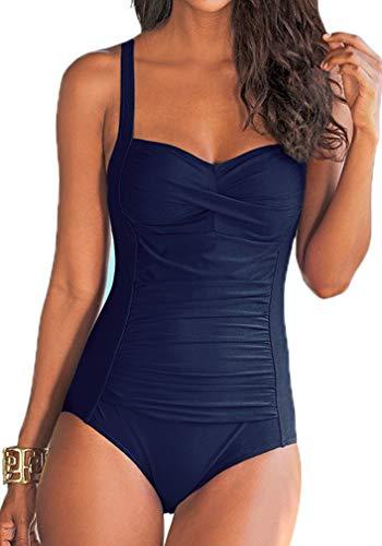 Socluer Damen Badeanzüge Push Up Rückenfrei Bauchweg Figurformende One Piece Bademode Tankini Swimsuit,Navy,XL (DE 38/40)