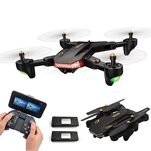 XIAOKEKE Drone con Telecamera, Fotocamera Grandangolare 2.0MP Wi-Fi FPV Drone Pieghevole One Key Ritorno Altitude Hold Quadricottero G-Sensor (2 Batteria)