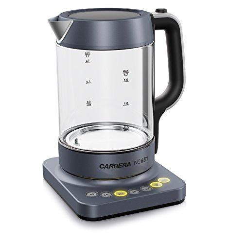 CARRERA Glas-Wasserkocher No 651 mit Temperatureinstellung und Warmhaltefunktion, BPA frei für Tee und Babynahrung
