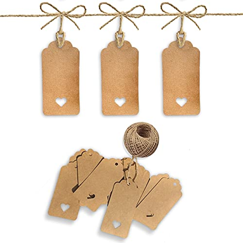 PCP 100 Pcs Gift Tags (9.5x4.5cm) Brown Kraft Paper Tags with 30m Jute Twine String for Arts & Craft, Luggage Label, Weddings, Valentines & Christmas.
