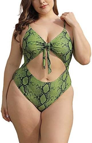 Allegrace Plus Size One Piece Swimsuits for Women Cut Out Open Back BK01 Dark Green Snakeskin product image