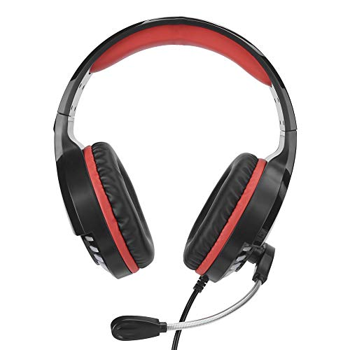 214 Gaming Headset,Wired Surround Stereo USB PC Game Headphone with Shocking Bass Sound,Noise Cancelling Microphone,for Desktop/Laptop Computers(Black red)