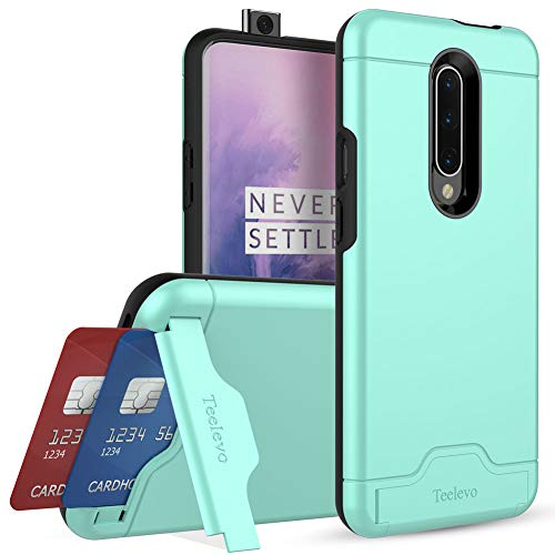 Teelevo Wallet Case for OnePlus 7 Pro, Dual Layer Case with Card Slot Holder and Kickstand for OnePlus 7 Pro - Mint Green Georgia