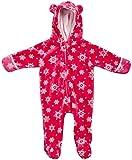 Penelope Mack Infant Baby Girls' Super Soft Plush Hooded Pram, Size 3-6 Months, Pink Snowflake