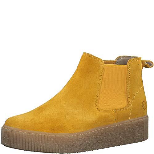 Tamaris Damen Stiefeletten, Frauen Chelsea Boots,lose Einlage, Stiefel halbstiefel Bootie Schlupfstiefel flach weiblich Lady,Saffron,37 EU / 4 UK