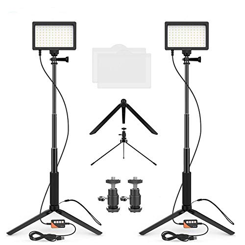 JINTU 2-Pack Dimmable Bi-Color 3200K-5600K USB 96PCS LED Video Light + Tripod Stand for Desk/Living Streaming, Laptop Meeting/Video Conference Lighting/Game Streaming/YouTube Video Photography