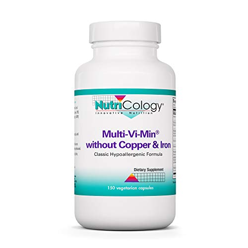 NutriCology Multi-Vi-Min Without Copper and Iron - Hypoallergenic - 150 Vegetarian Capsules