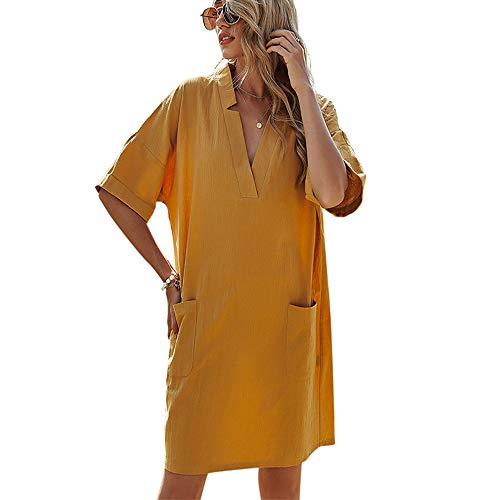 ACLOIN Abito da donna con scollo a V, a maniche corte, estivo, lunghezza al ginocchio, in cotone, giallo., M