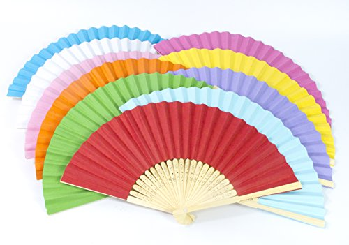 All In One Blank Folding Fan Silk Bamboo Handheld Foldable Fan for DIY Craft Home Wedding Church Party Event Decoration Grift Bridal Dancing Props (Mixed Color-10pcs)