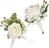 POOPHUNS 1 juego de rosas artificiales para boda, corsé de muñeca, corsé de ojales, ramillete de muñeca, ramillete de muñeca para bodas, banquetes, regreso a casa, aniversario, etc. (rosa blanca)