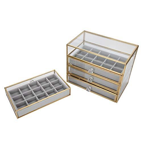 Caja organizadora de arte de uñas, 60 rejillas Caja de almacenamiento de decoración de uñas Caja de almacenamiento de exhibición de joyería Caja de joyería para mujer para mostrador de