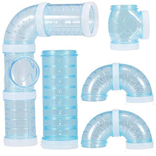 FANDE Röhren Für Den Tunnel Hamster, DIY Hamster Cage Tube Hamster Spielzeug Hamster Cage Tubes Tunnel für Kleine Tierkäfig Externe Zubehör (Blau)