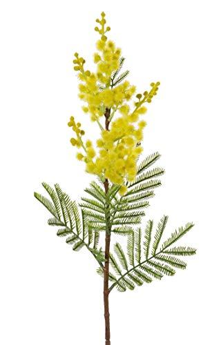 artplants.de Set 'Kunstblume Mimose und UV Schutz Spray' - Kunst Mimosenzweig MENSON, mit Blüten, gelb, 60cm