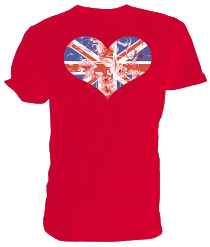 Best of British, Union-Jack, Herzen und Blumen, T-Shirt, - rot - Größe: 9-11 Jahre Kinder