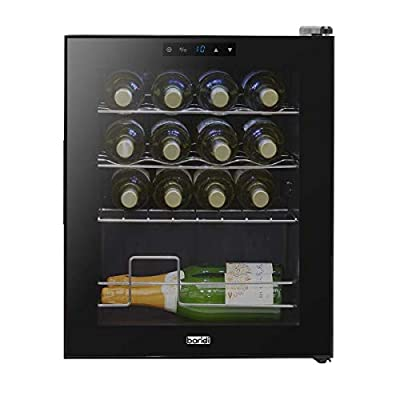 Baridi 16 Bottle Wine Cooler, Fridge, Touch Screen, LED, Low Energy A, Black