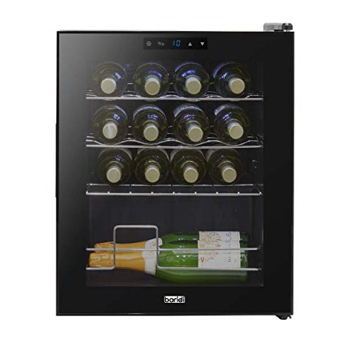 Baridi 16 Bottle Wine Cooler, Fridge, Digital Touch Screen Controls & LED Light, Low Energy A, Black