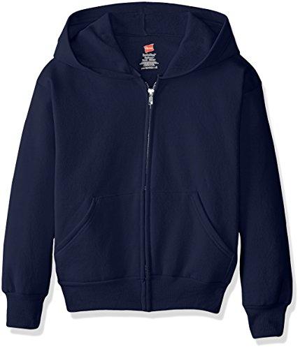 Hanes Boys' Big EcoSmart Fleece Full Zip Hooded Jacket, navy1, MEDIUM