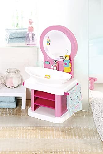 Zapf Creation 831953 BABY born Bath Waschtisch mit Licht- und Soundeffekten, vibrierender Zahnbürste, Zahnputzbecher und Handtuch