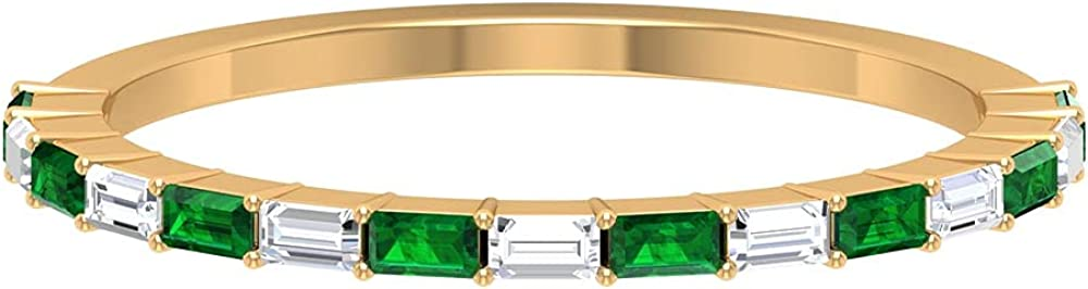 1/4 CT Baguette Cut Emerald and Diamond Floating Half Eternity Band Ring, 14K Solid Gold