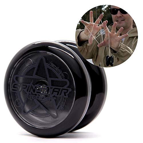 YoyoFactory SPINSTAR Yo-Yo - SCHWARZ (Ideal für Anfänger, Moderne Leistung YoYo, Freistil Yoyoing Tricks, Schnur und Anleitung Enthalten)