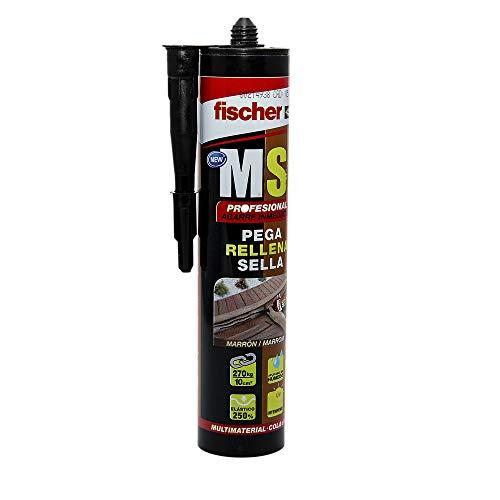 Fischer 540329 Sellador Juntas para bañeras, baños y cocinas MS Profesional (Cartucho 290 ml) marrón, polímero para Pegar y sellar Diferentes Materiales, Resistencia a la decoloración